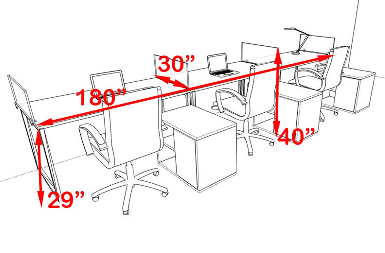 Three Person Modern Acrylic Divider Office Workstation, #AL-OPN-SP87