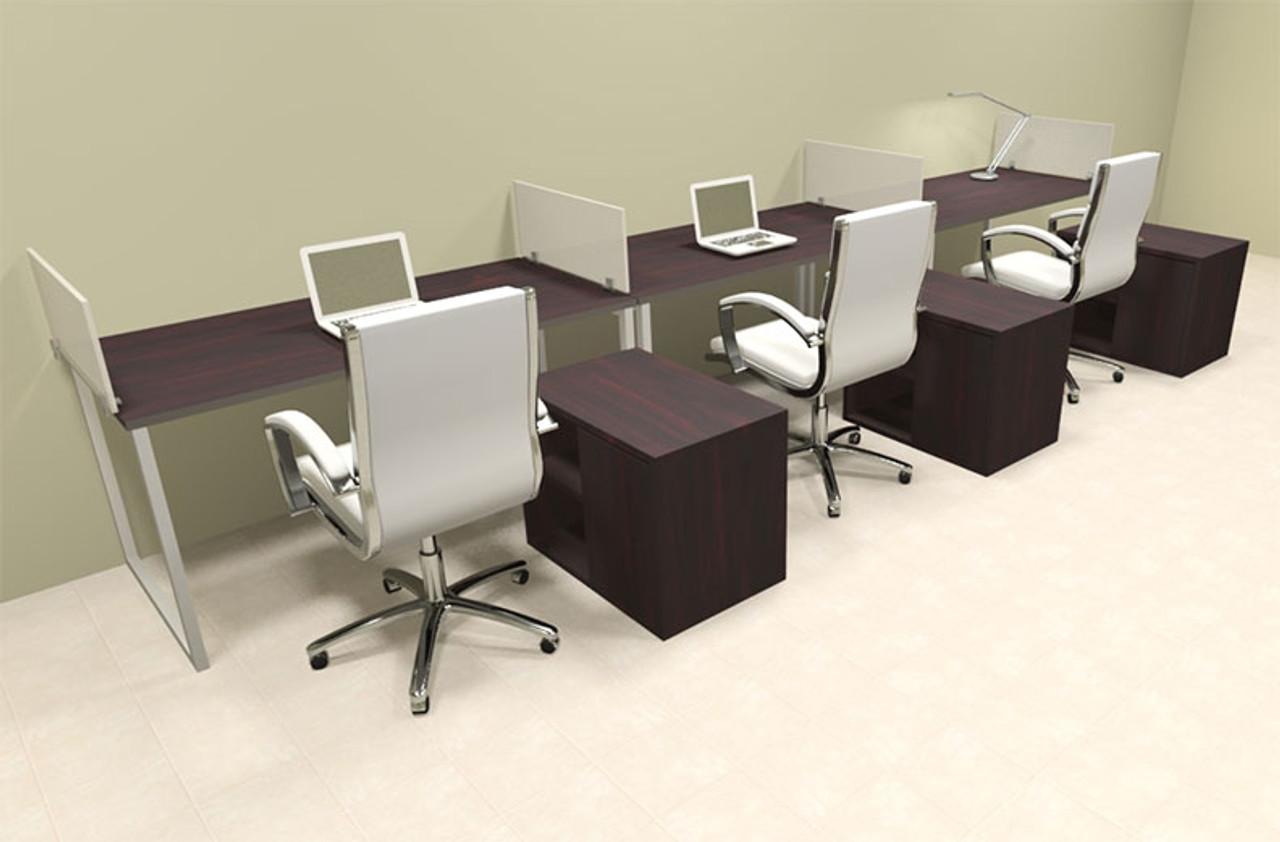 Three Person Modern Acrylic Divider Office Workstation, #AL-OPN-SP89