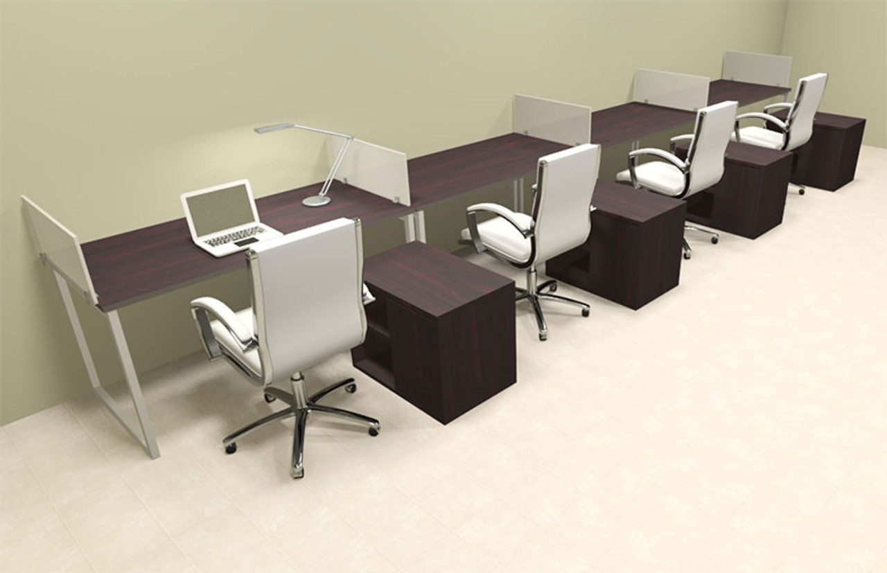 Four Person Modern Acrylic Divider Office Workstation, #AL-OPN-SP95