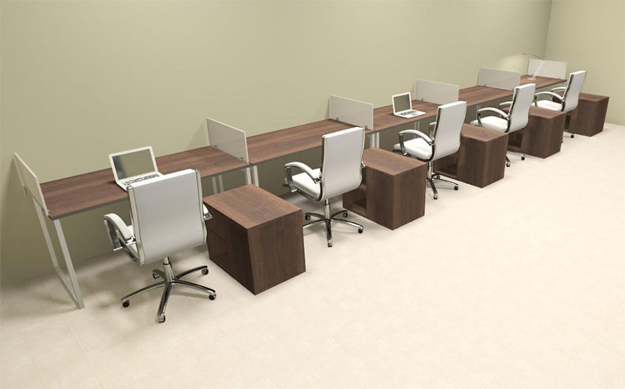 Five Person Modern Acrylic Divider Office Workstation, #AL-OPN-SP99