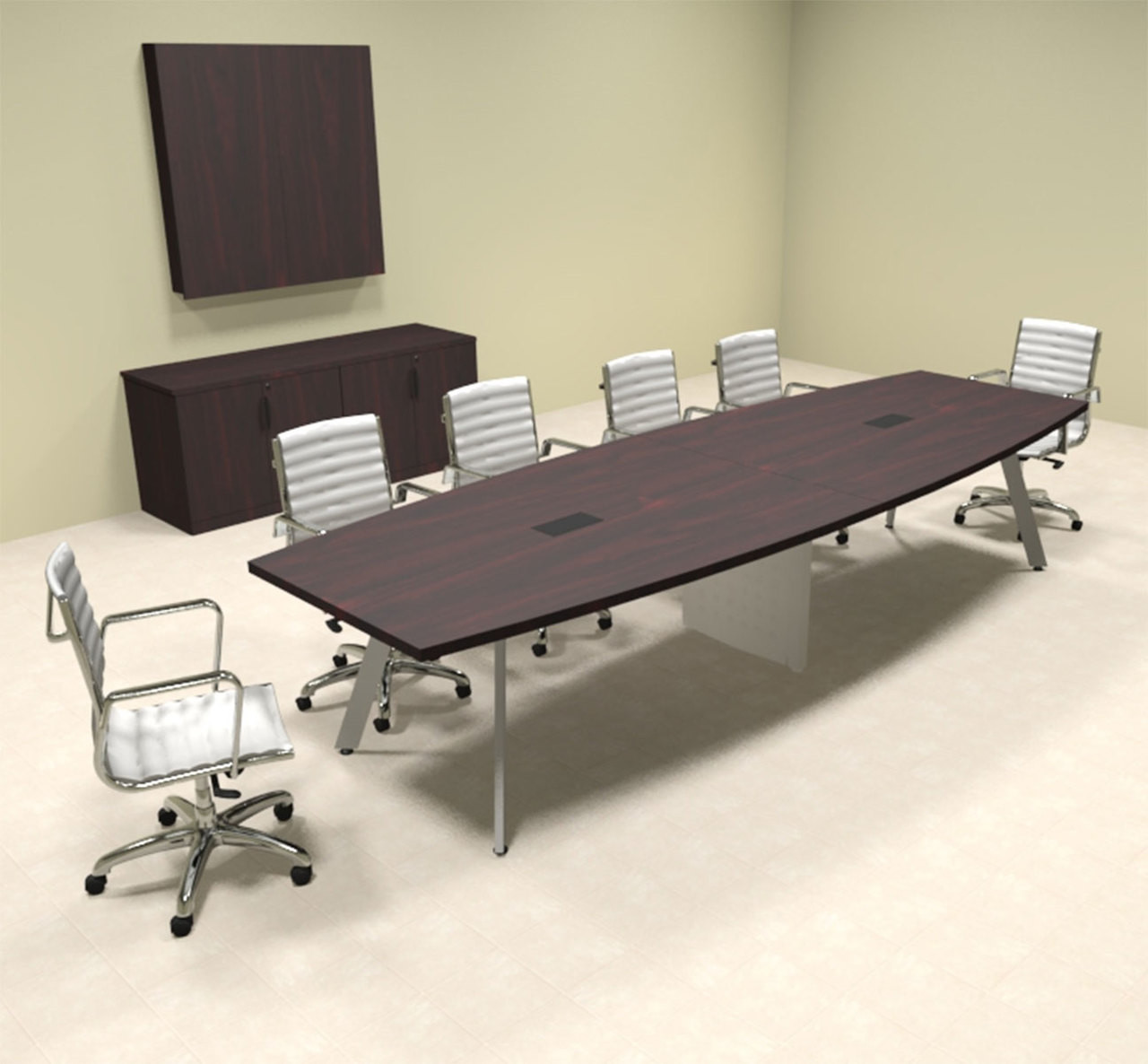 Modern Boat shaped 12' Feet Conference Table, #OF-CON-CV19