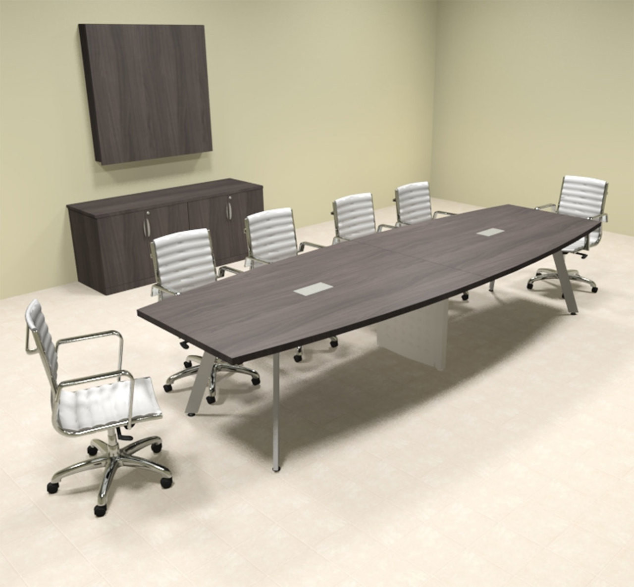 Modern Boat shaped 12' Feet Conference Table, #OF-CON-CV21
