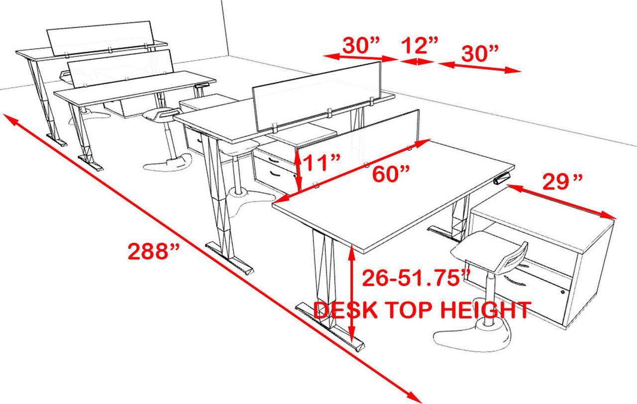 Four Persons Modern Power Adjustable Divider Workstation, #AL-OPN-HP45