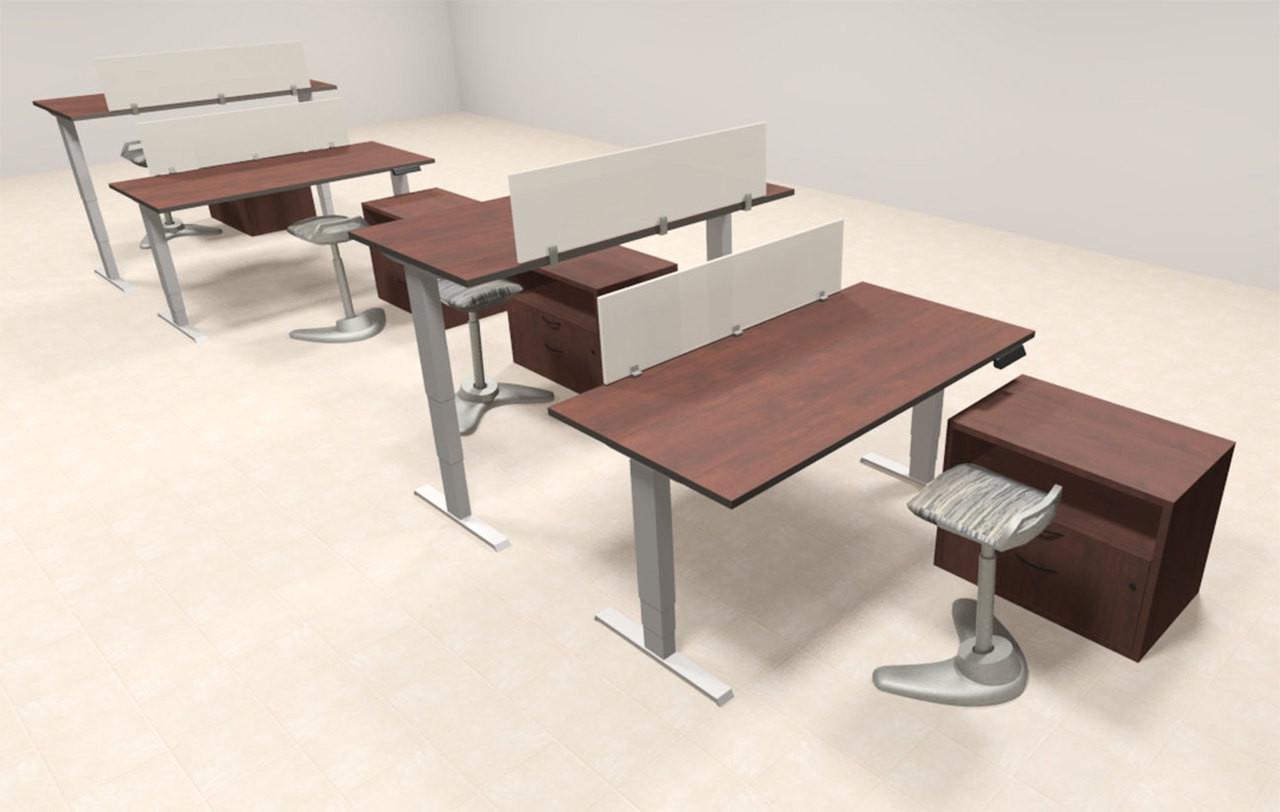 Four Persons Modern Power Adjustable Divider Workstation, #AL-OPN-HP46