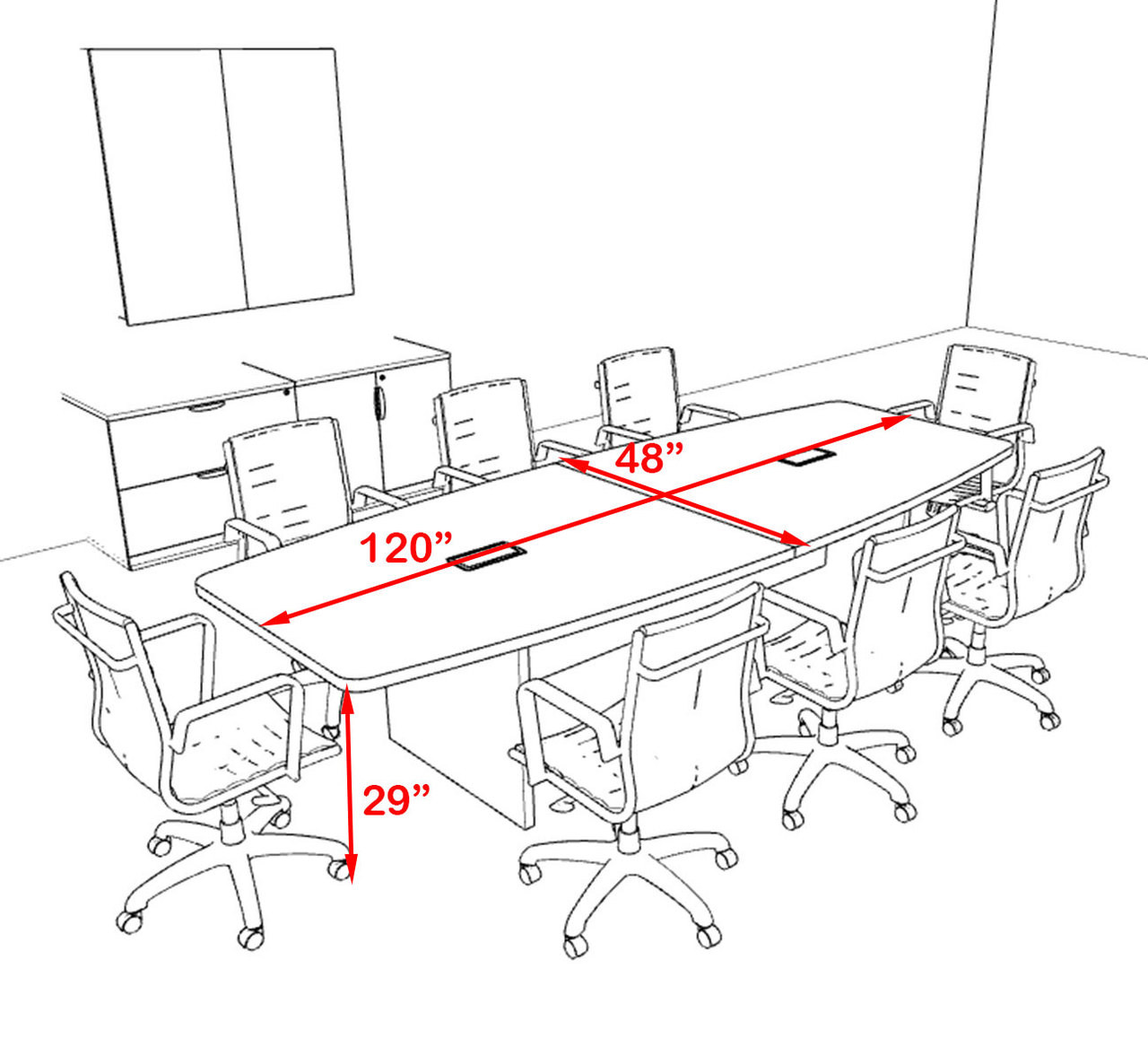 Modern Boat Shapedd 10' Feet Conference Table, #OF-CON-C133