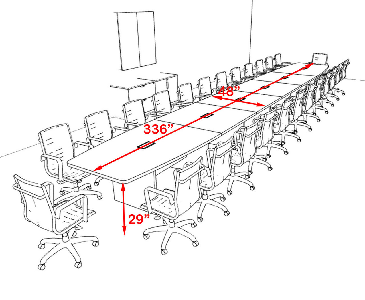 Modern Boat Shapedd 28' Feet Conference Table, #OF-CON-C142