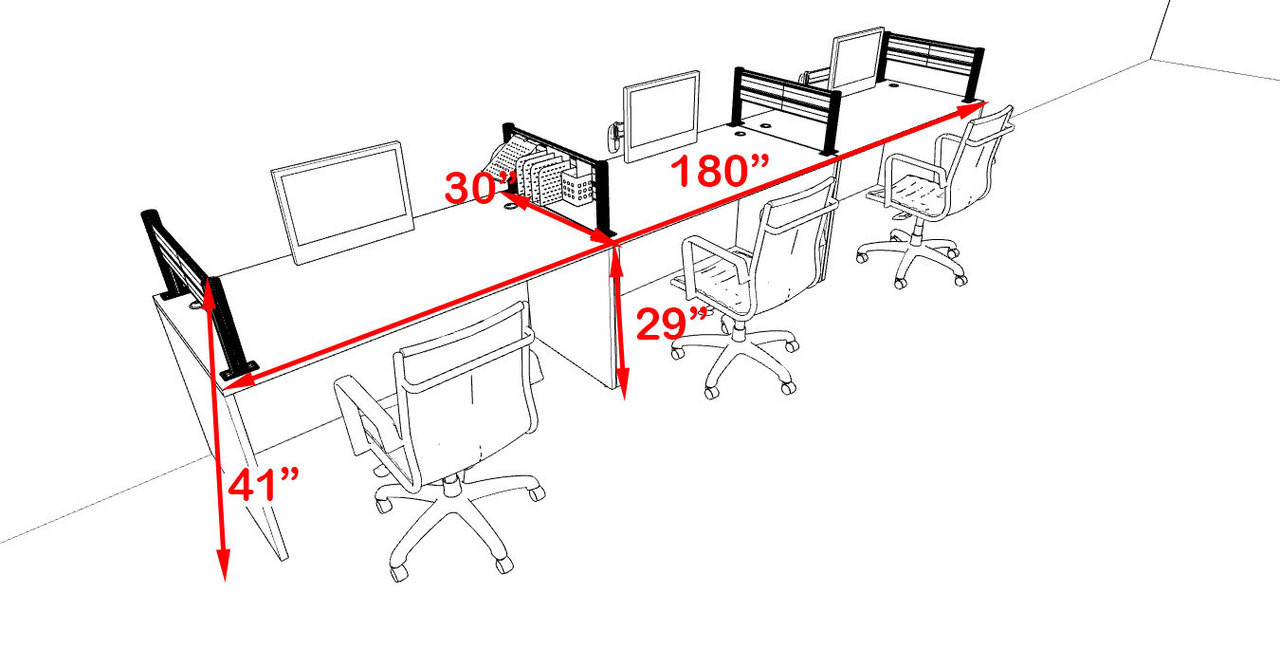 Three Person Modern Aluminum Organizer Divider Office Workstation, #OT-SUL-SPW8