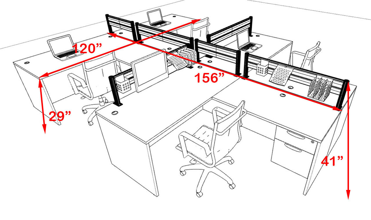 Four Person Modern Aluminum Organizer Divider Office Workstation, #OT-SUL-SPW59