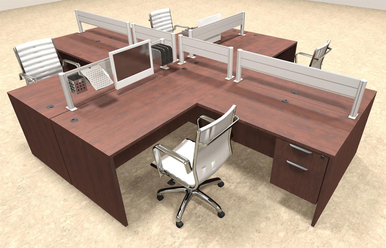 Four Person Modern Aluminum Organizer Divider Office Workstation, #OT-SUL-FPW42
