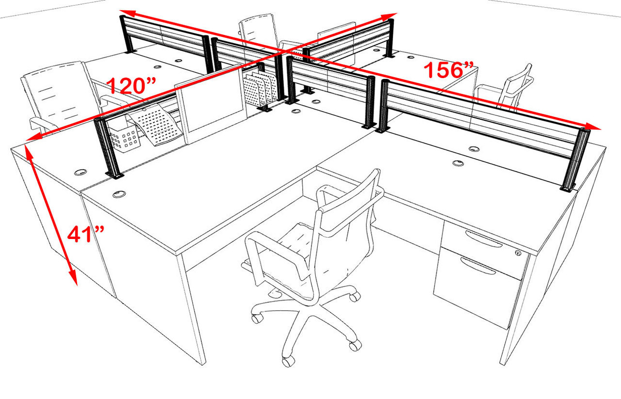 Four Person Modern Aluminum Organizer Divider Office Workstation, #OT-SUL-FPW44