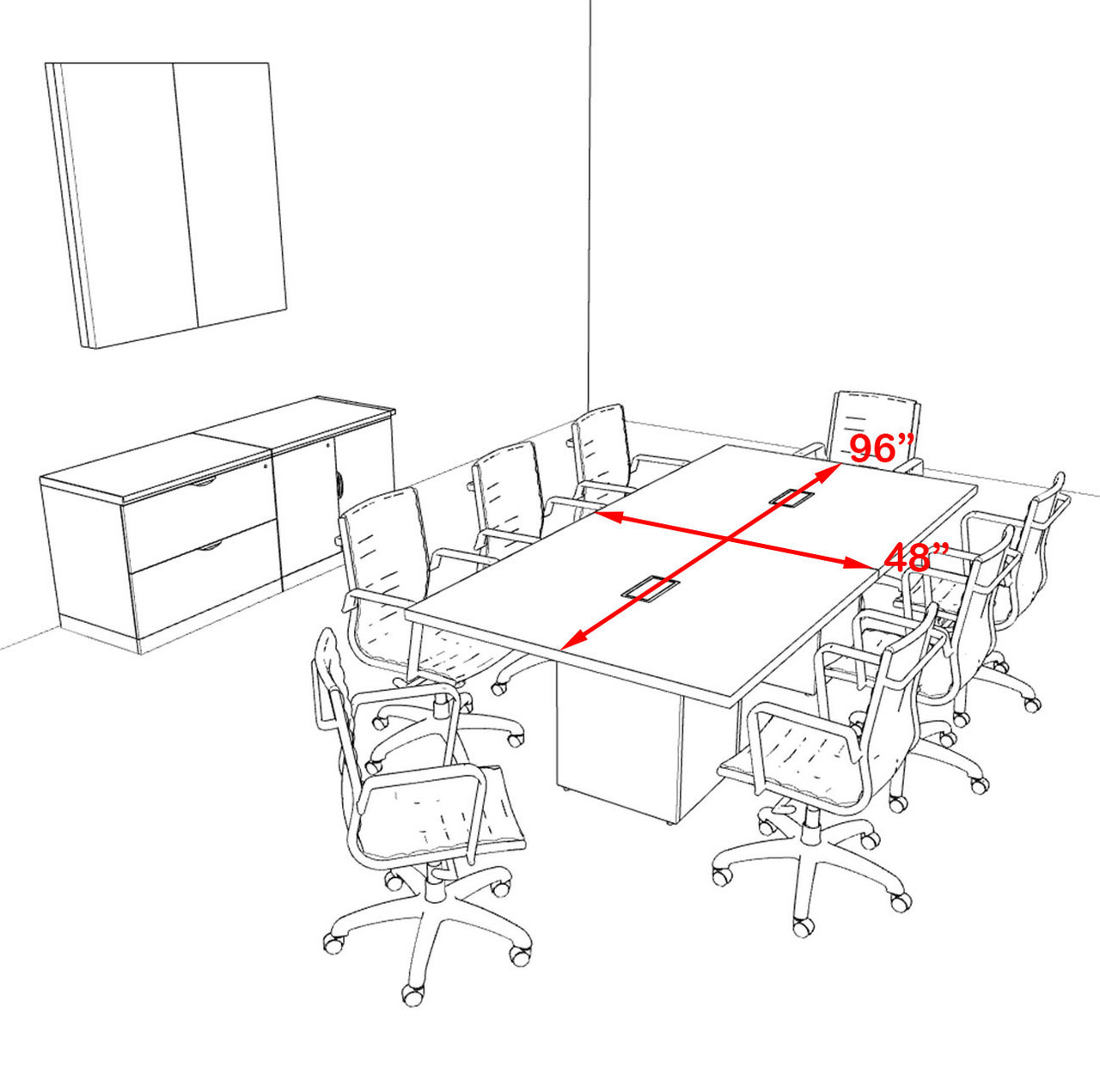 Modern Rectangular Top Cube Leg 8' Feet Conference Table, #OF-CON-CS6