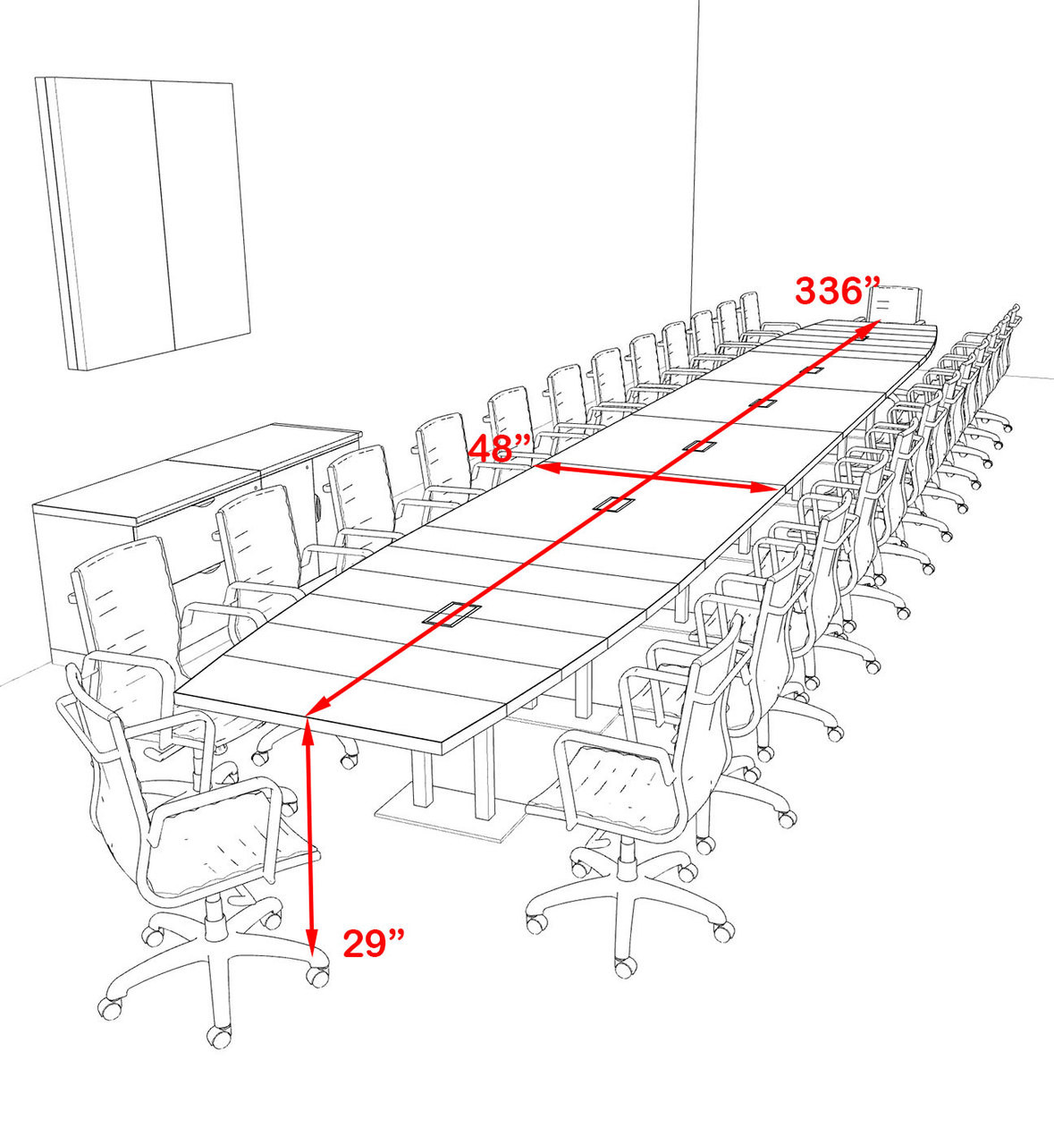 Modern Boat Shaped Steel Leg 28' Feet Conference Table, #OF-CON-CM94