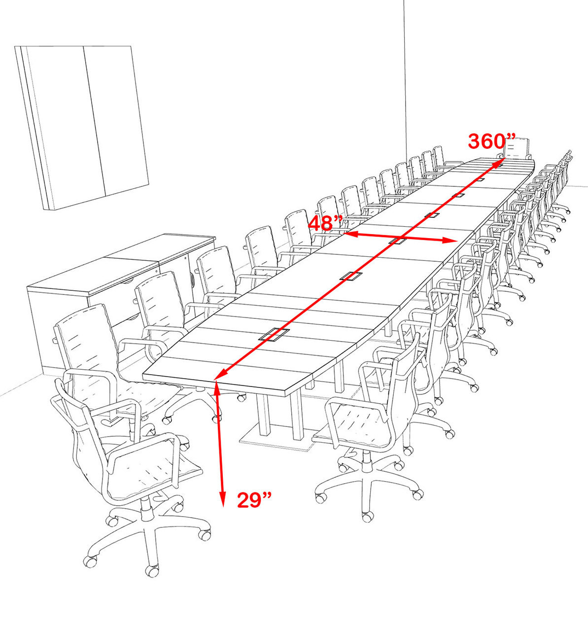 Modern Boat Shaped Steel Leg 30' Feet Conference Table, #OF-CON-CM95