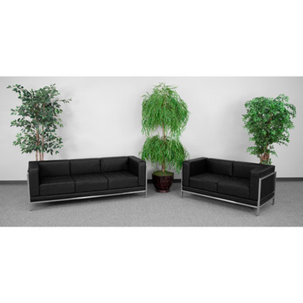 2pc Modern Leather Office Reception Sofa Set, FF-0433-12-S4