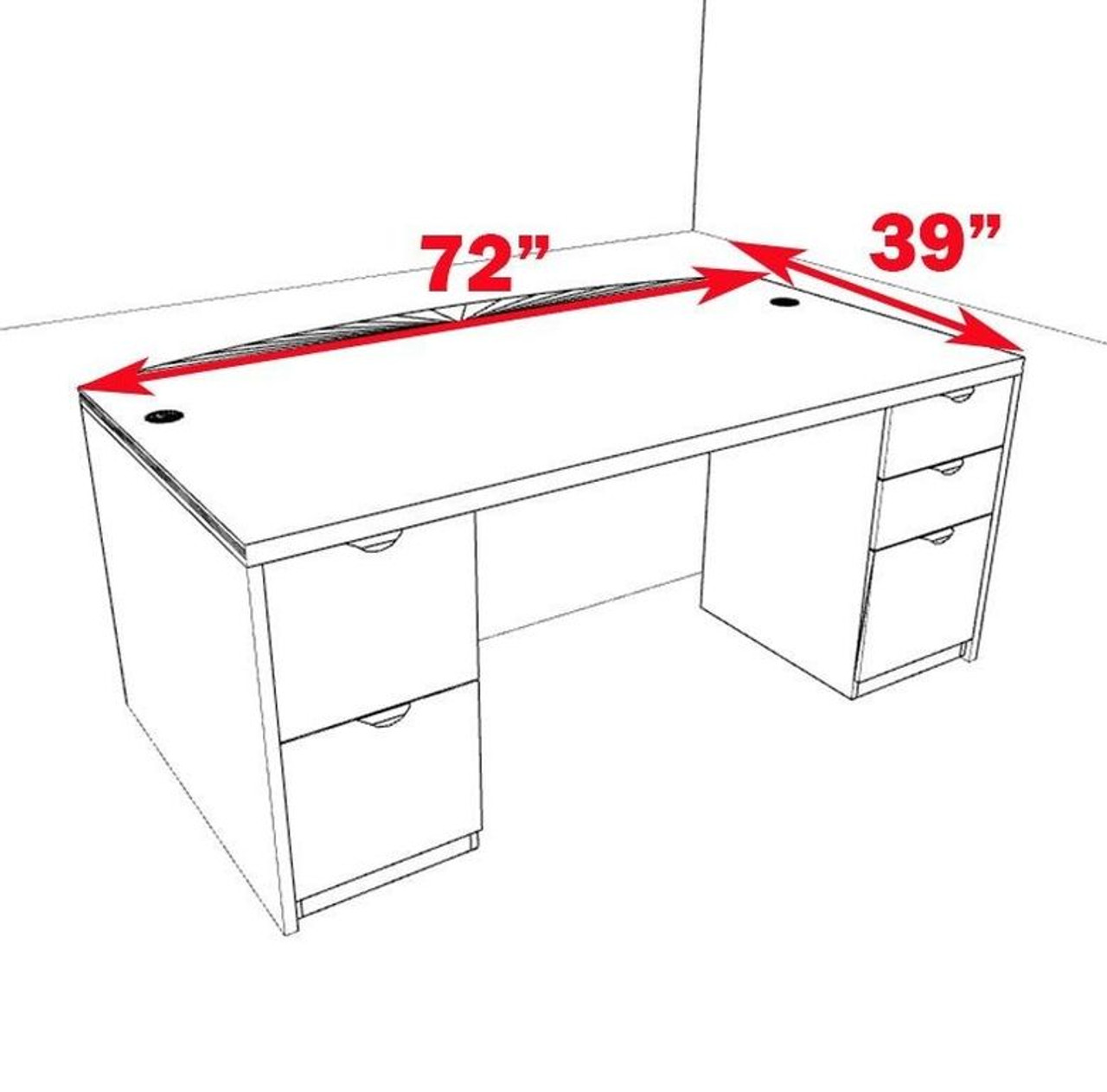 3pc Fan Front Modern Contemporary Executive Office Desk, #CH-JAD-D7