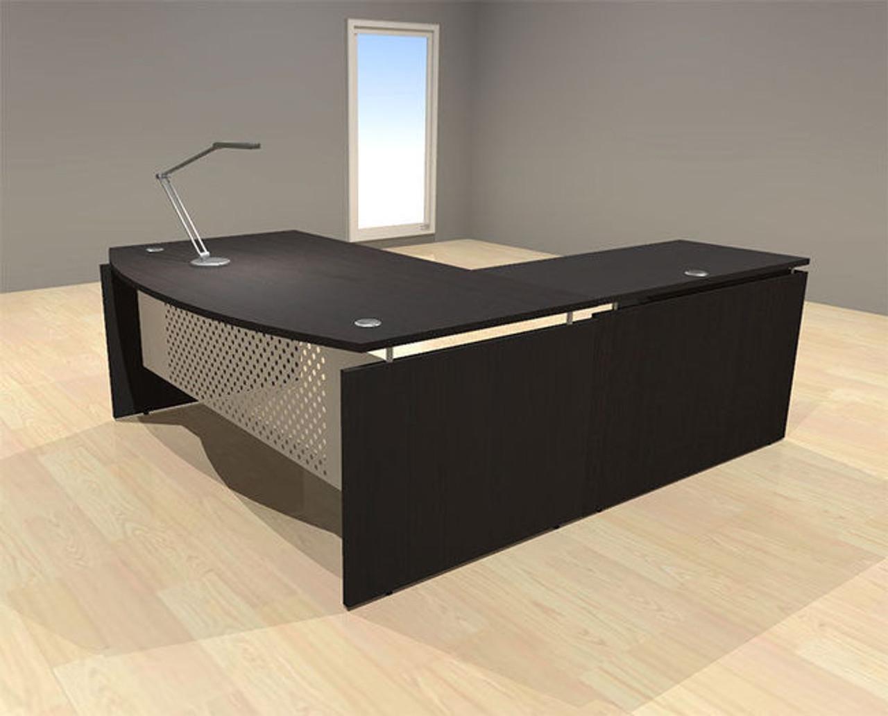 Ordinaire 3pc L Shape Modern Contemporary Executive Office Desk Set, #AL SED L5