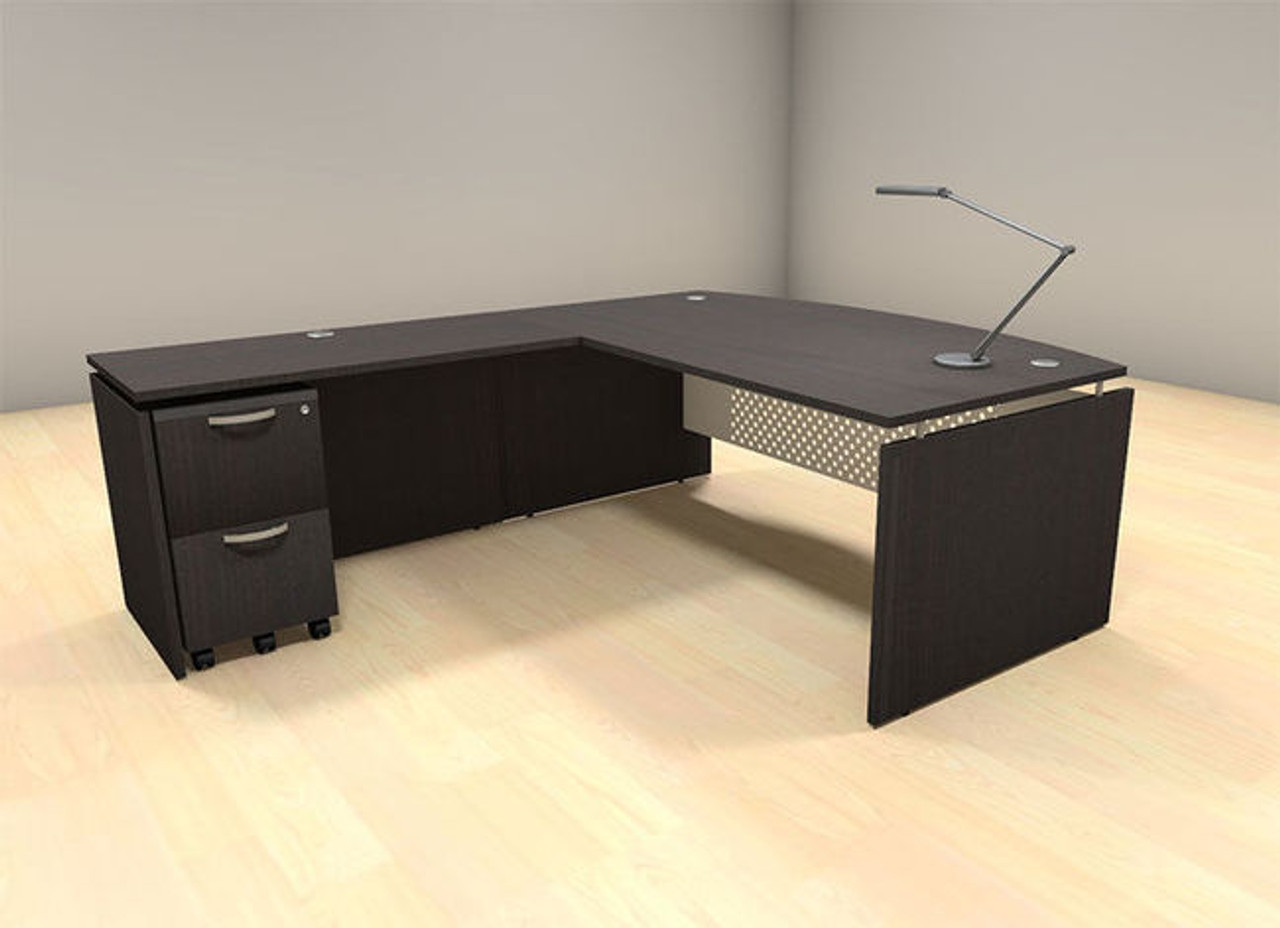 Incroyable 3pc L Shape Modern Contemporary Executive Office Desk Set, #AL SED L5