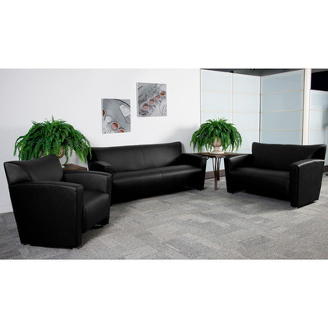 3pc Modern Leather Office Reception Sofa Set, FF-0428-12-S1