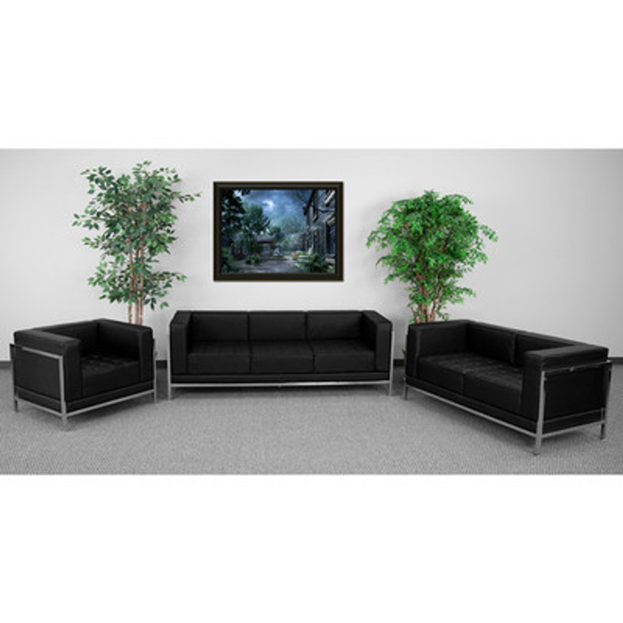 3pc Modern Leather Office Reception Sofa Set, FF-0433-12-S2