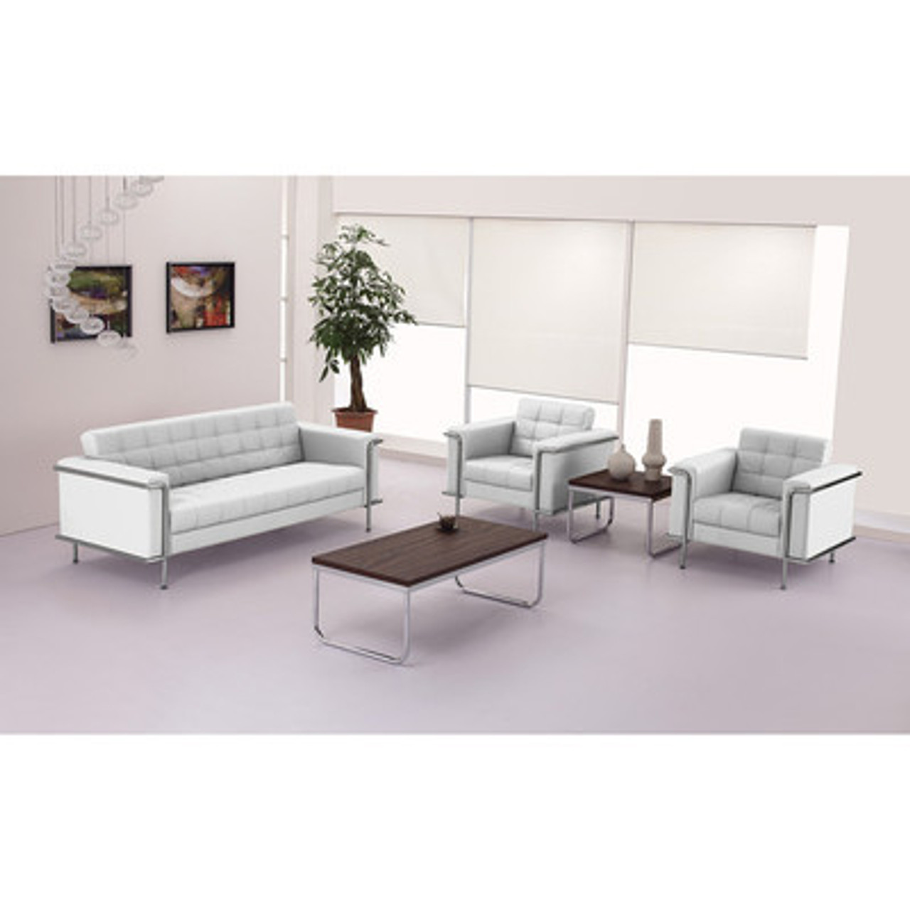 3pc Modern Leather Office Reception Sofa Set, FF-0447-12-S1