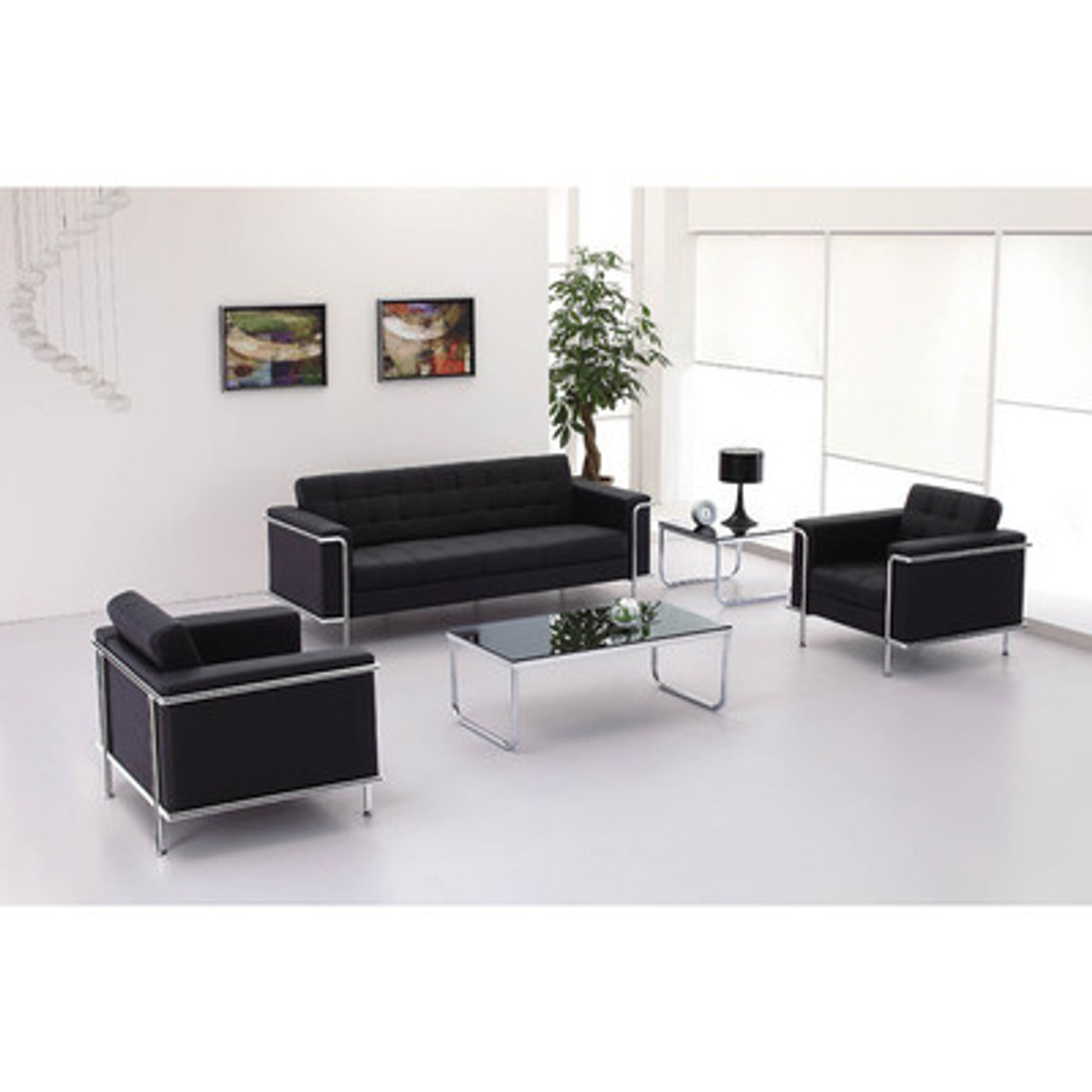 3pc Modern Leather Office Reception Sofa Set, FF-0453-12-S1