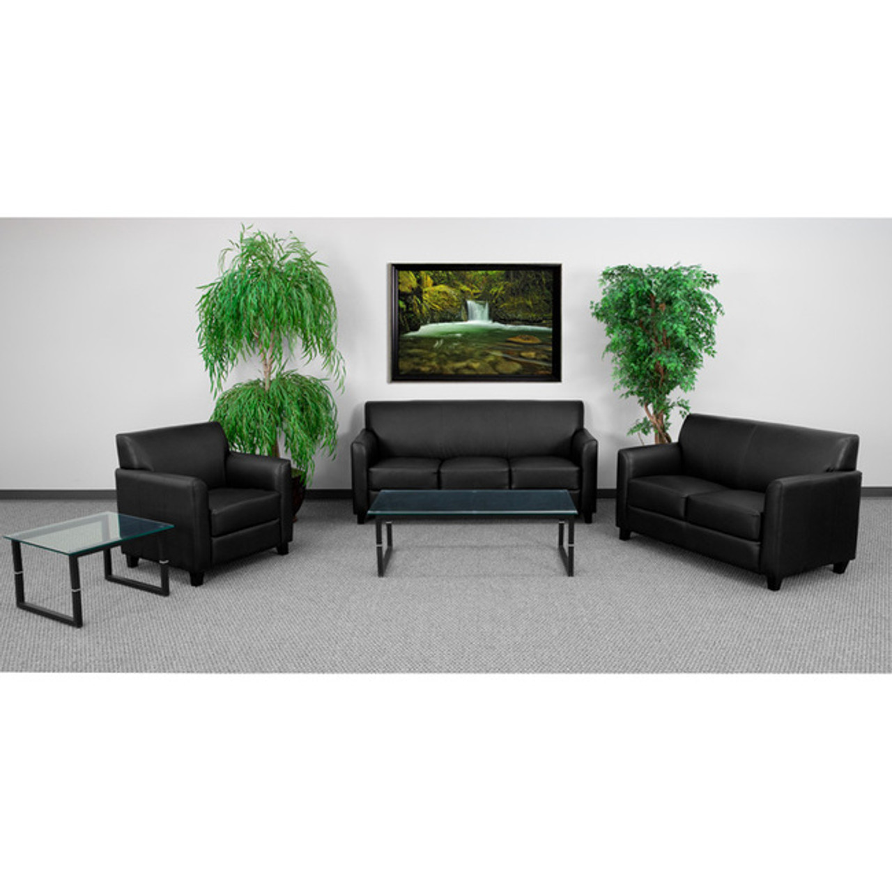 3pc Modern Leather Office Reception Sofa Set, FF-0551-13-S1
