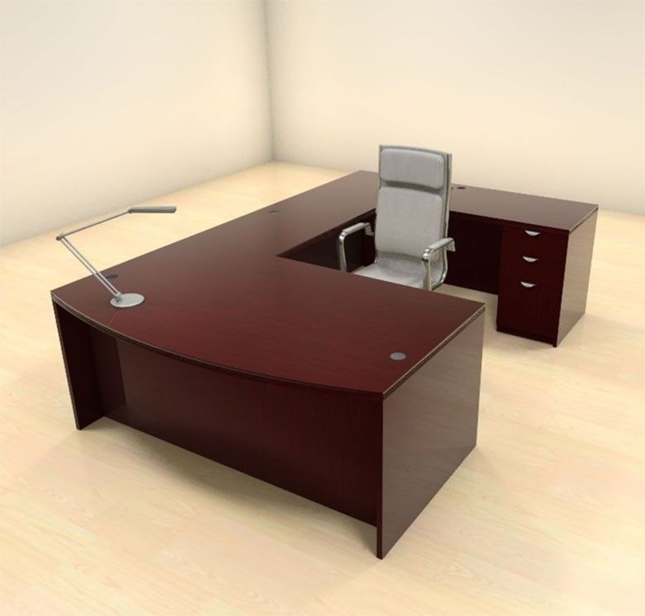 4pc U Shape Modern Contemporary Executive Office Desk Set, #CH-JAD-U2