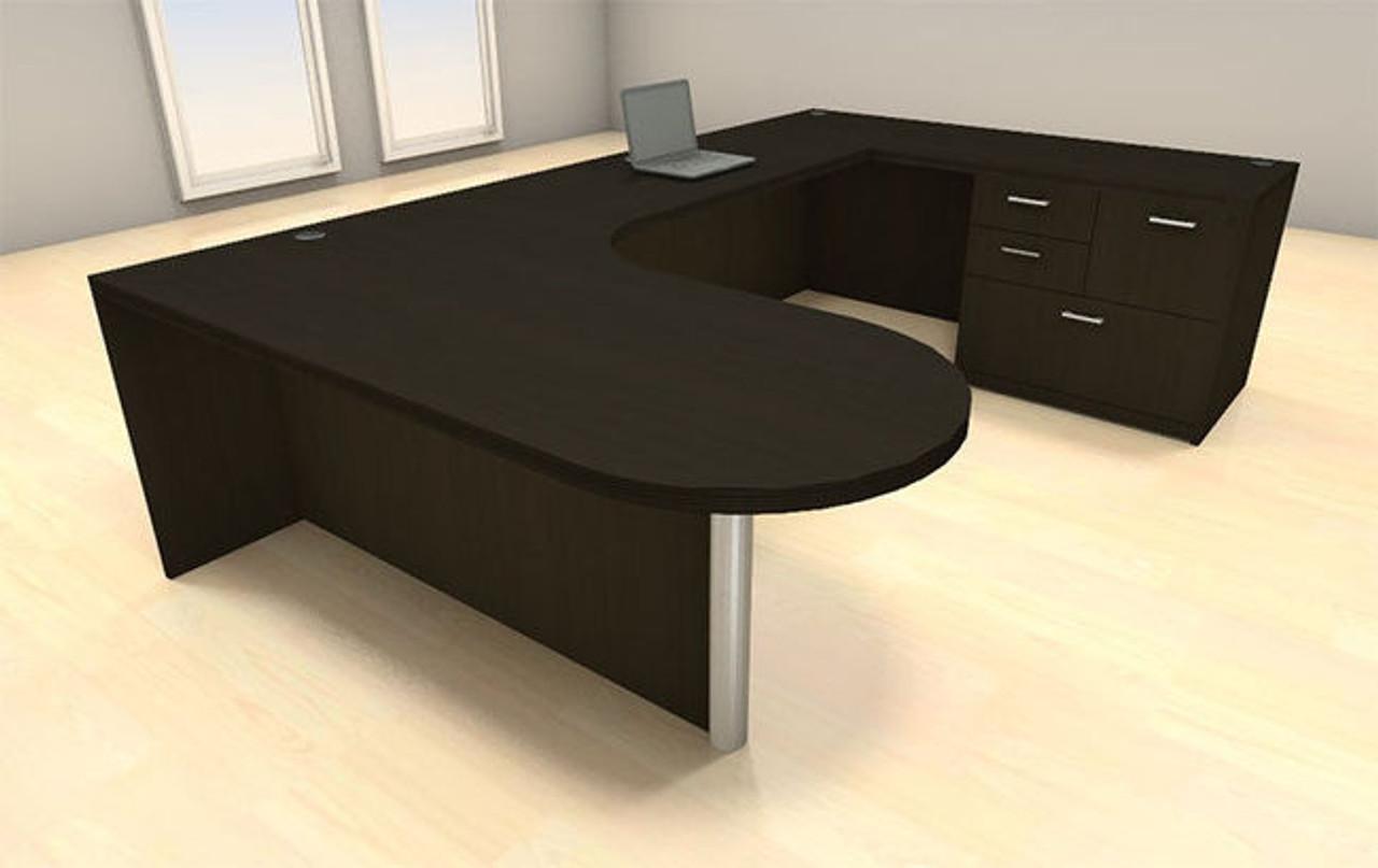 4pc U Shape Modern Executive Office Desk Set, #CH AMB U4