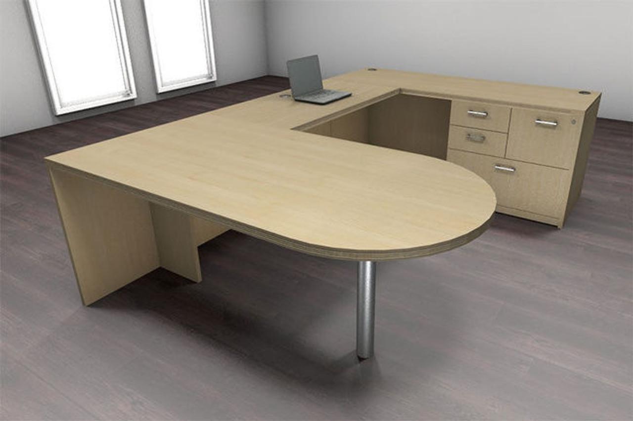 4pc U Shape Modern Executive Office Desk Set, #CH-AMB-U32