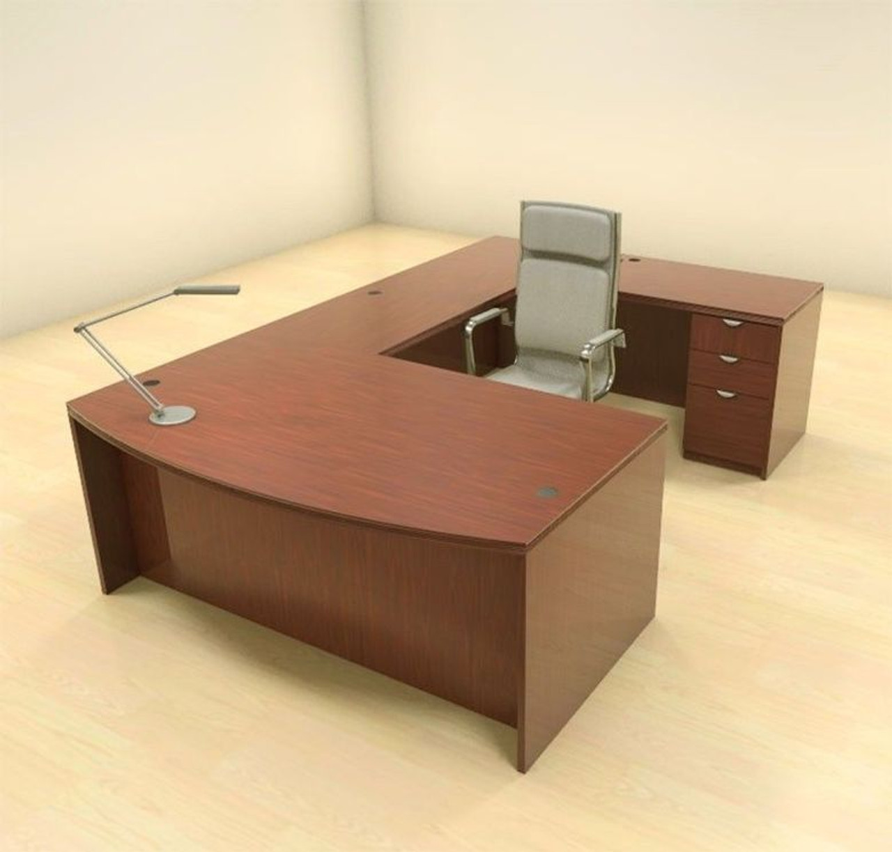 4pc U Shape Modern Contemporary Executive Office Desk Set, #CH-JAD-U1