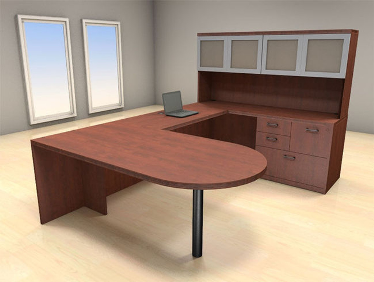5pc U Shape Modern Executive Office Desk Set, #CH-AMB-U40