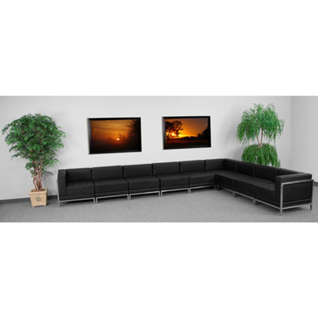 9pc Modern Leather Office Reception Sectional Sofa Set, FF-0433-12-S15