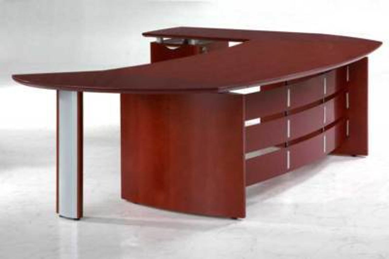 New 3Pc Cherrywood Oval Executive Office Desk #U-VAN-O1