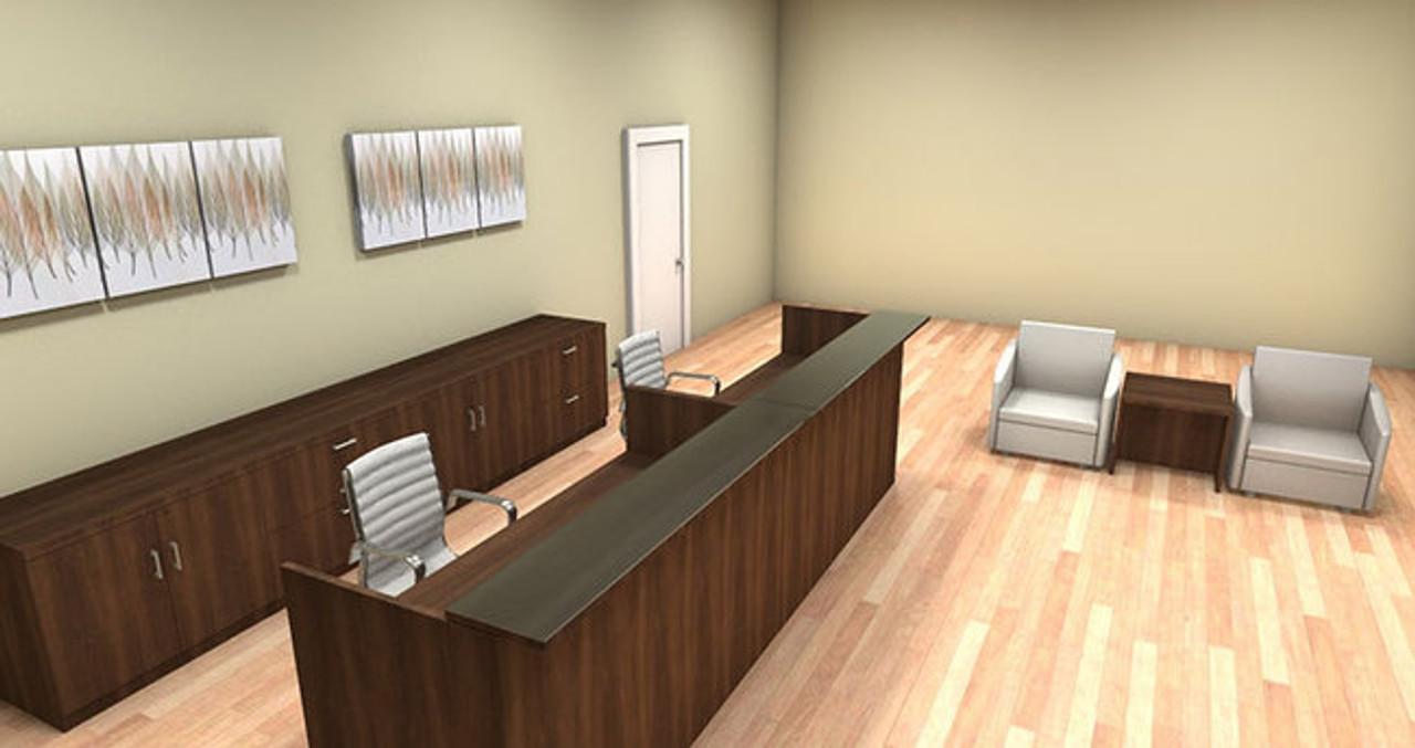 2pc 12' Feet Modern Glass Counter Reception Desk Set, #CH-AMB-R11