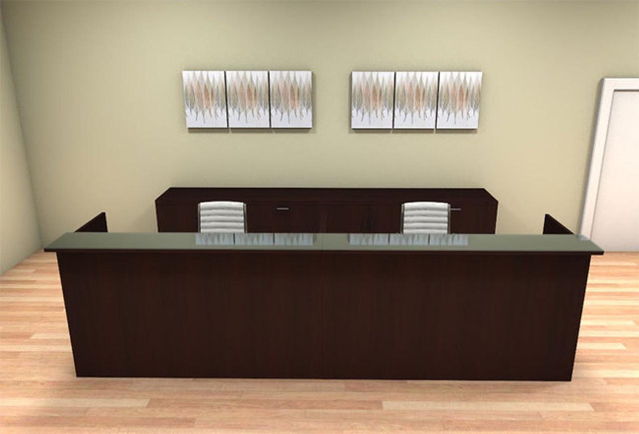 2pc 12' Feet Modern Glass Counter Reception Desk Set, #CH-AMB-R14