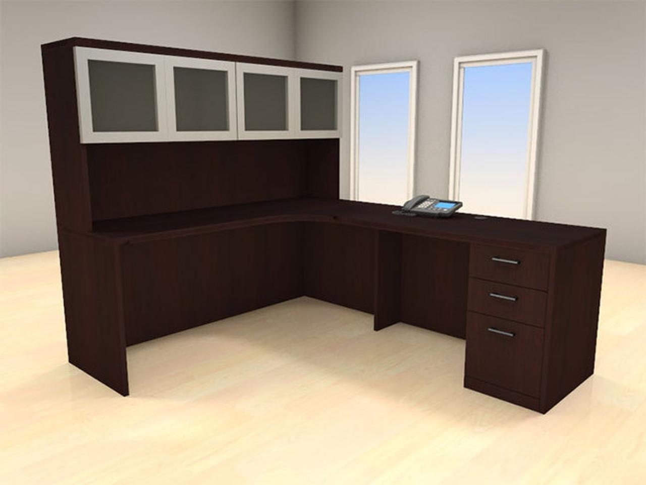 4pc L Shape Modern Executive Office Desk Set, #CH-AMB-L8