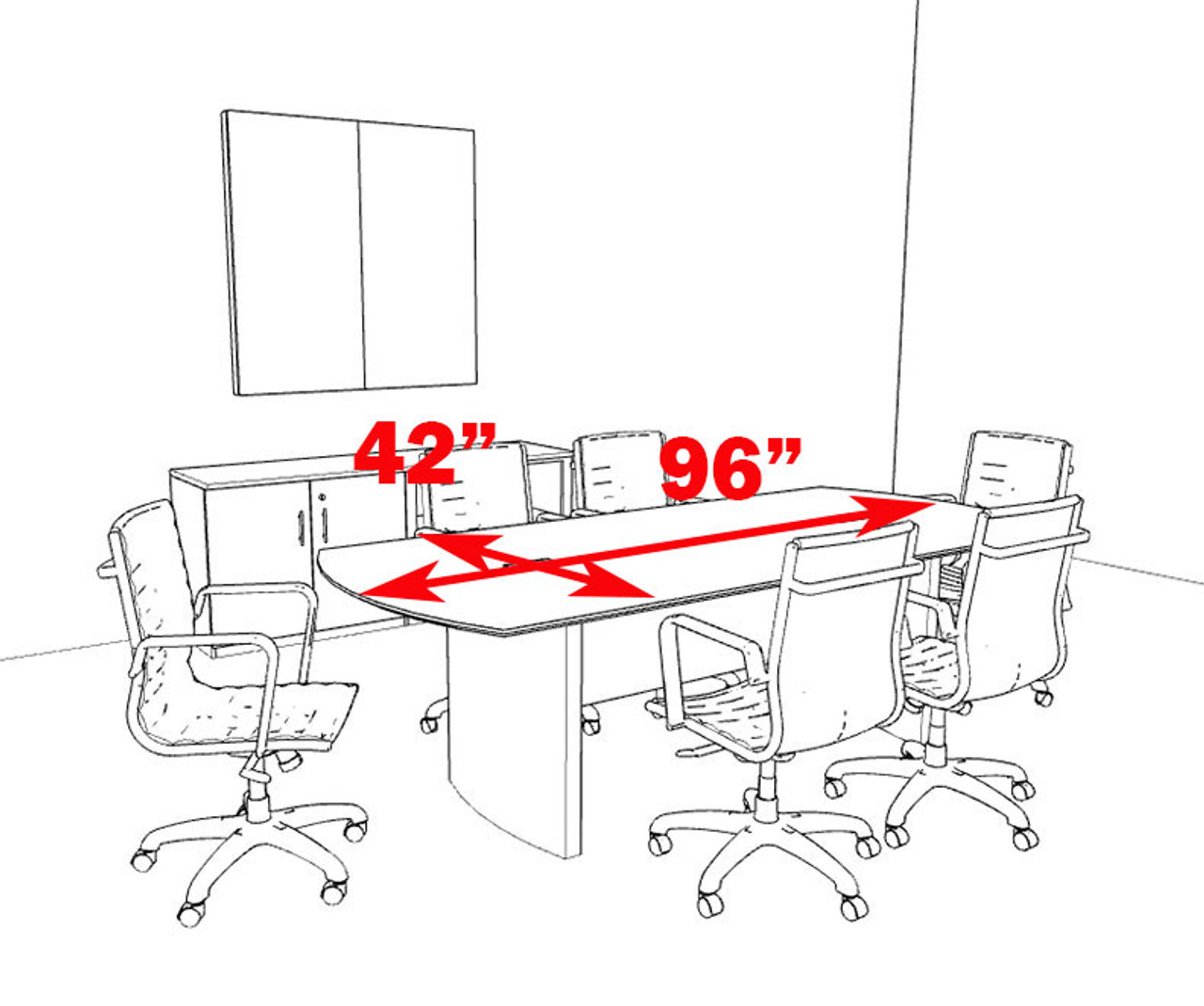 Modern Contemporary 8' Feet Conference Table, #MT-MED-C3