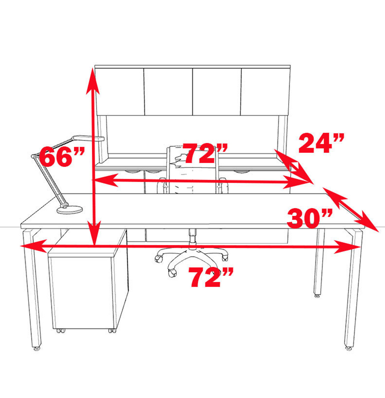 4pc Modern Contemporary Executive Office Desk Set, #OF-CON-D6