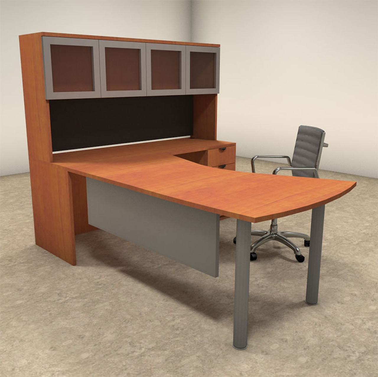 4pc L Shaped Modern Contemporary Executive Office Desk Set, #OF-CON-L21