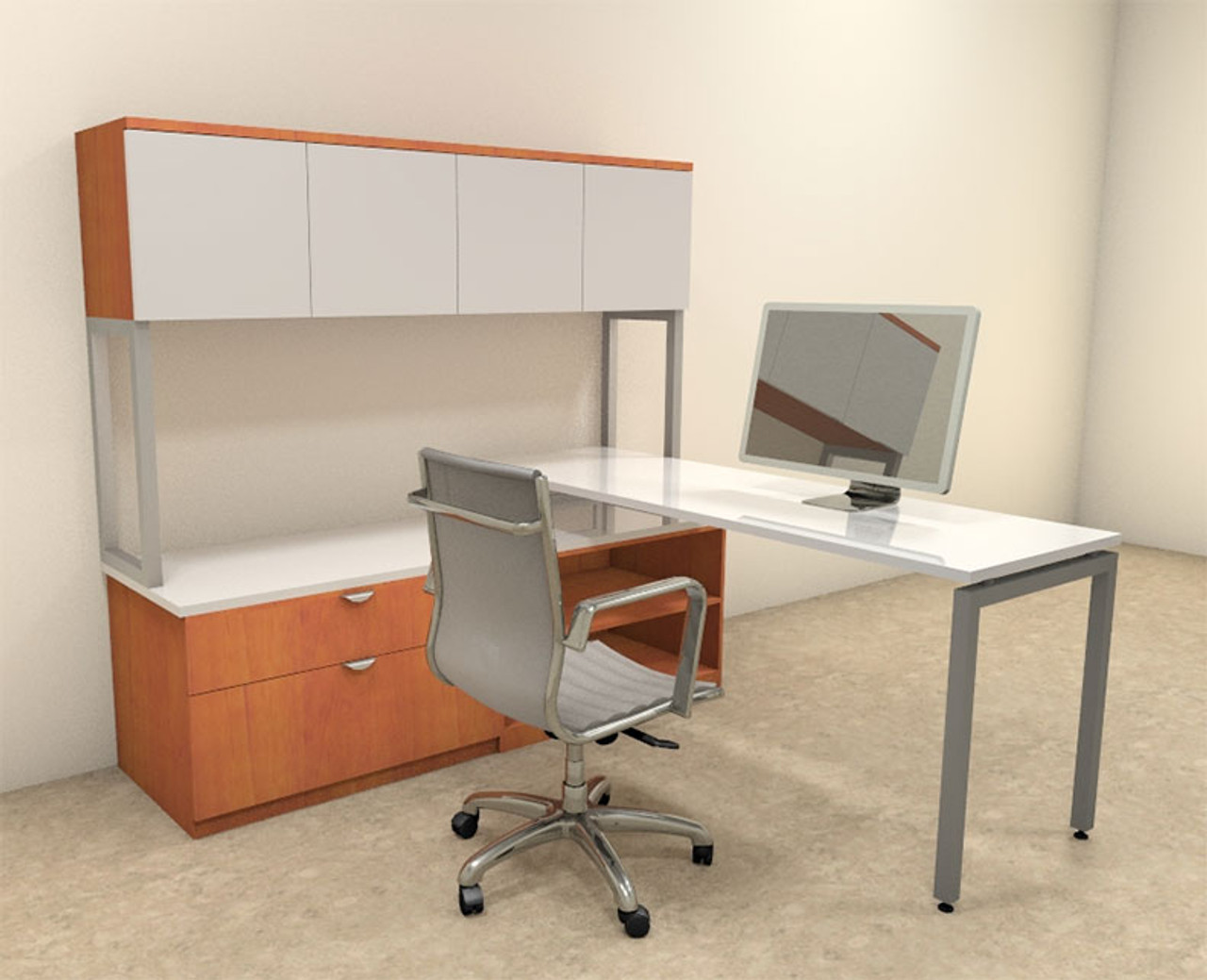 3pc L Shaped Modern Contemporary Executive Office Desk Set, #OF-CON-L41