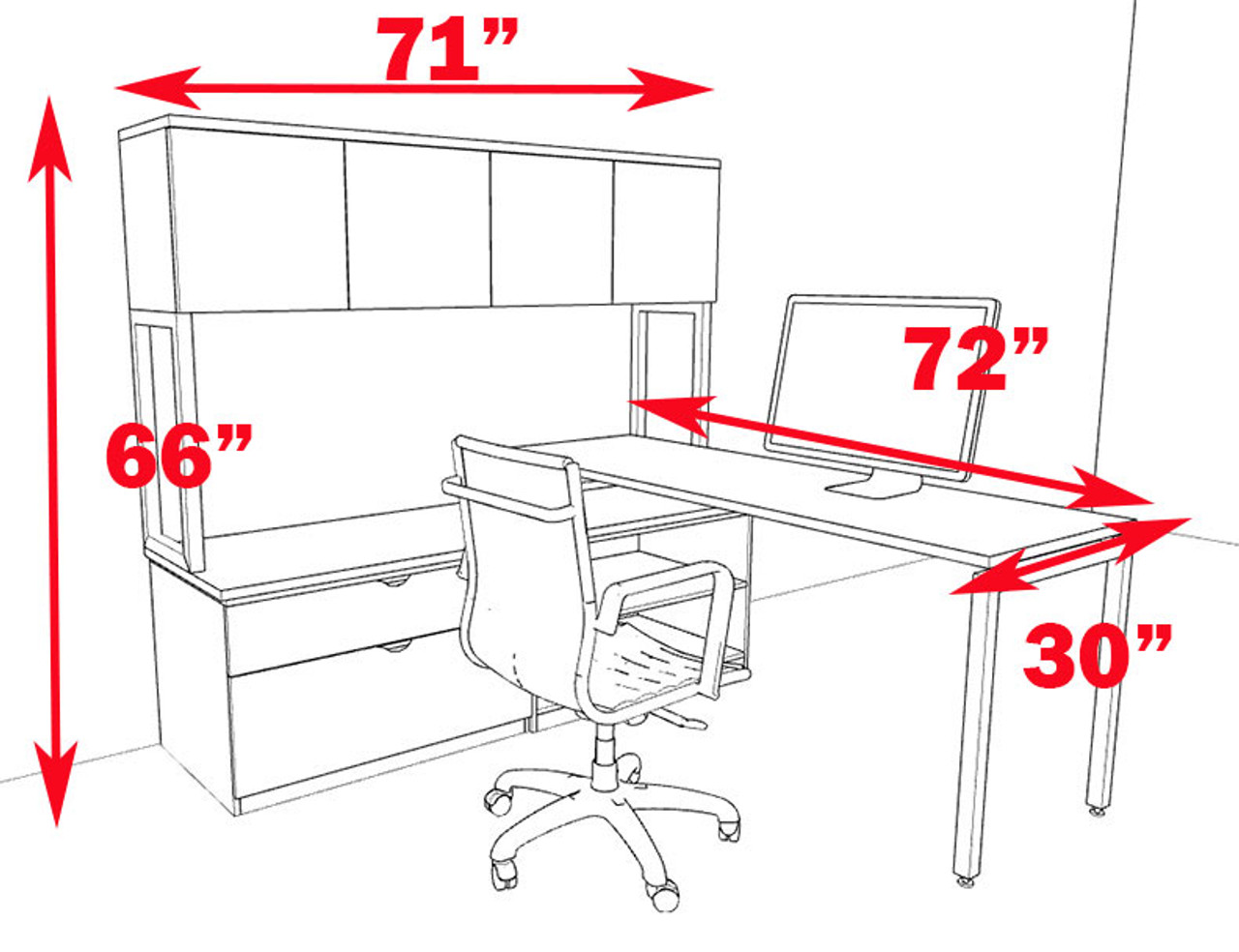 3pc L Shaped Modern Contemporary Executive Office Desk Set, #OF-CON-L44