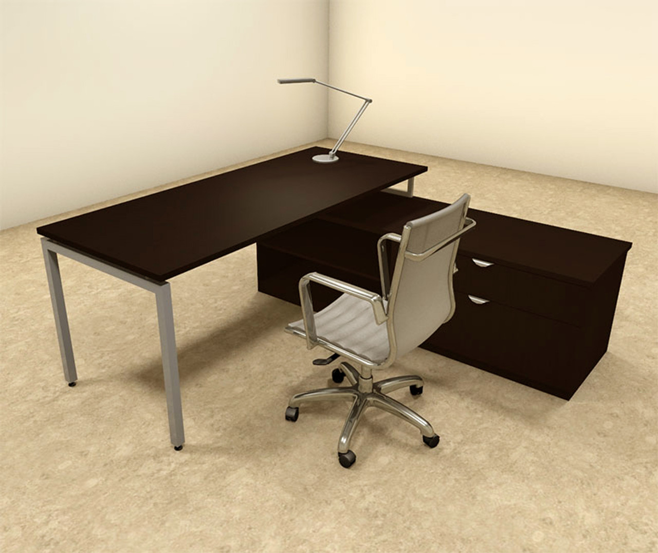 2pc L Shaped Modern Contemporary Executive Office Desk Set, #OF-CON-L50