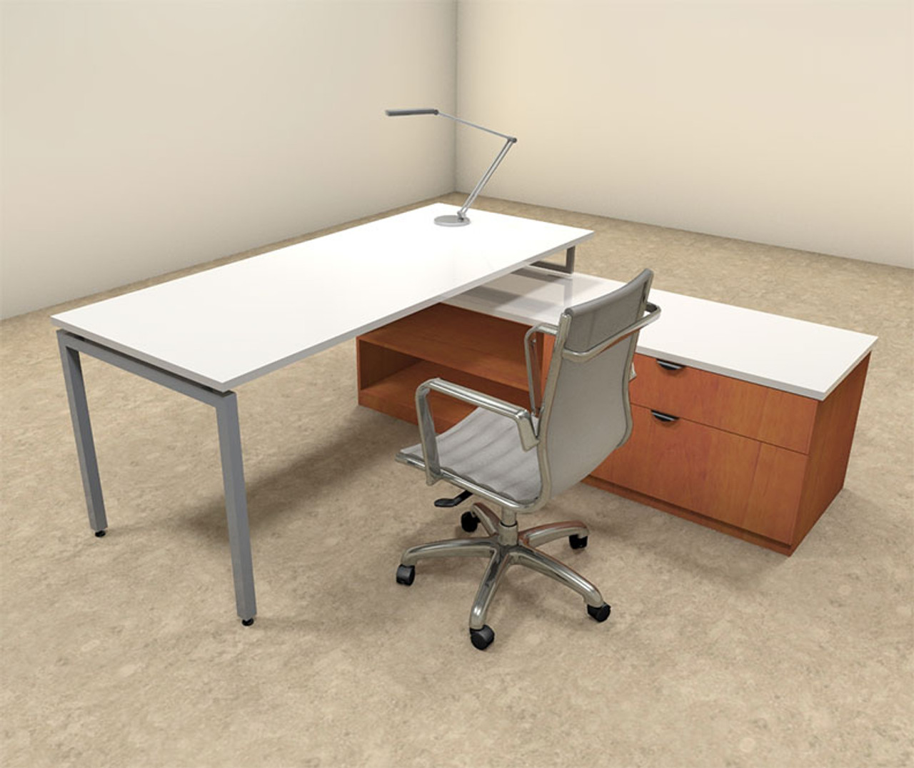 2pc L Shaped Modern Contemporary Executive Office Desk Set, #OF-CON-L51