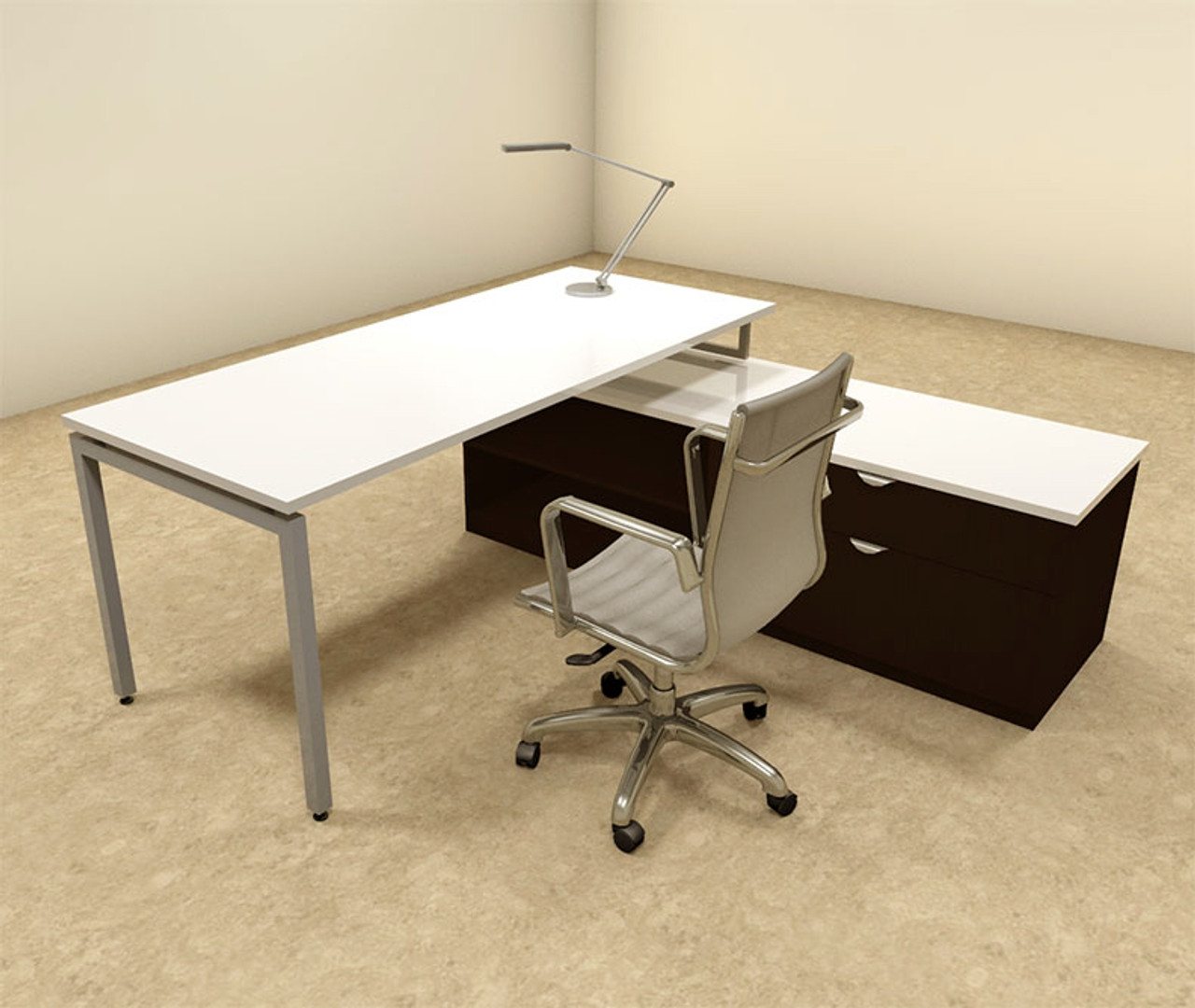 2pc L Shaped Modern Contemporary Executive Office Desk Set, #OF CON L55
