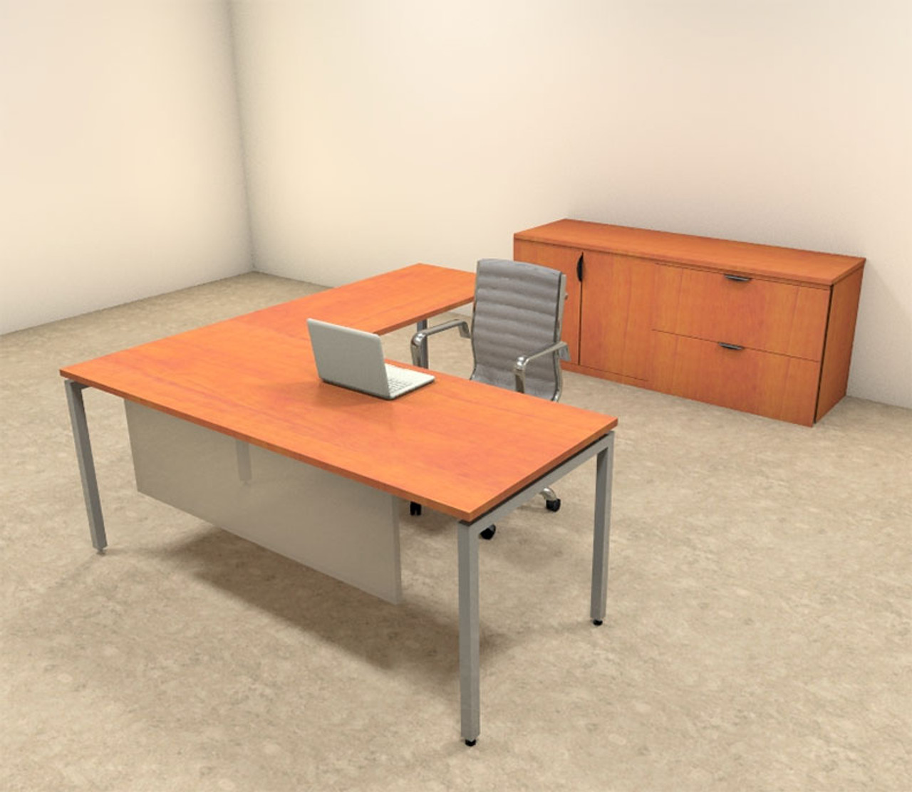 3pc L Shaped Modern Contemporary Executive Office Desk Set, #OF-CON-L66
