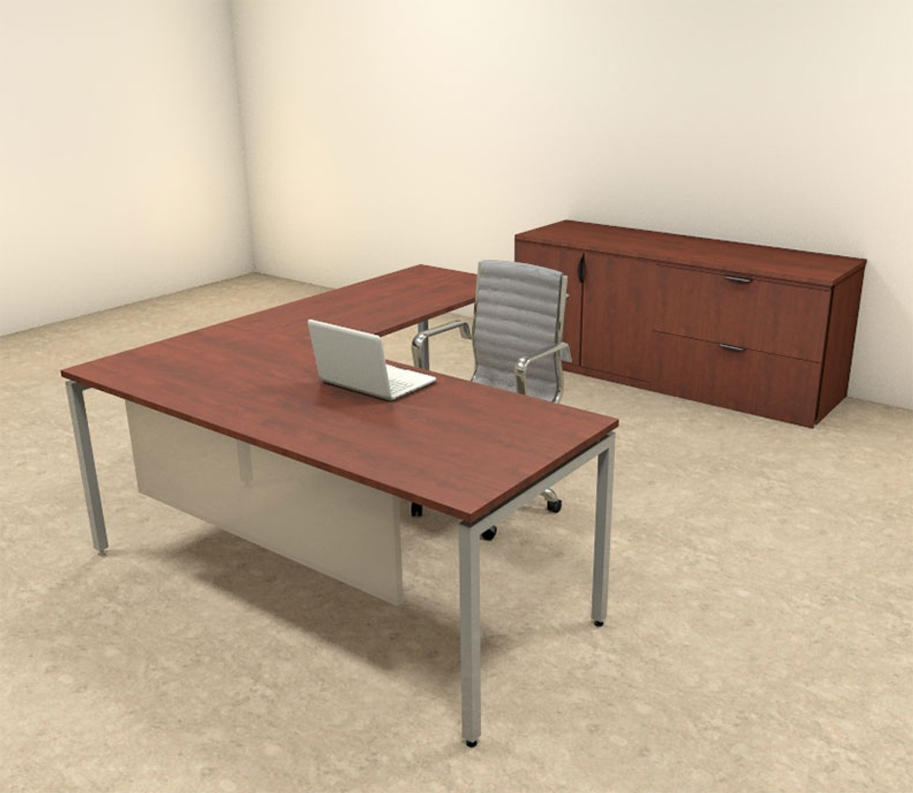 3pc L Shaped Modern Contemporary Executive Office Desk Set, #OF-CON-L67