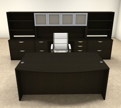 10pc FaN Front Modern Executive Office Desk Set, #OT-SUL-D16