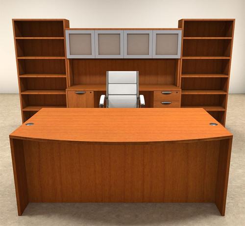 8pc Fan Front Modern Executive Office Desk Set, #OT-SUL-D17