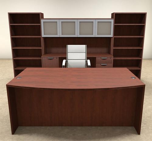 8pc Fan Front Modern Executive Office Desk Set, #OT-SUL-D18