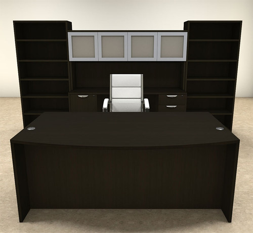 8pc Fan Front Modern Executive Office Desk Set, #OT-SUL-D20